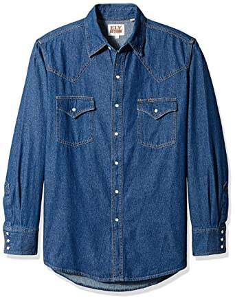 9dd8b0adb3 Ely   Walker Men s Long Sleeve Denim Western Shirt at Amazon Men s Clothing  store
