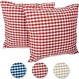 FILU Housse de coussin Lot de 2pages quadrillées (couleur au choix) Parent, Coton, rouge/blanc, 40 x 40 cm
