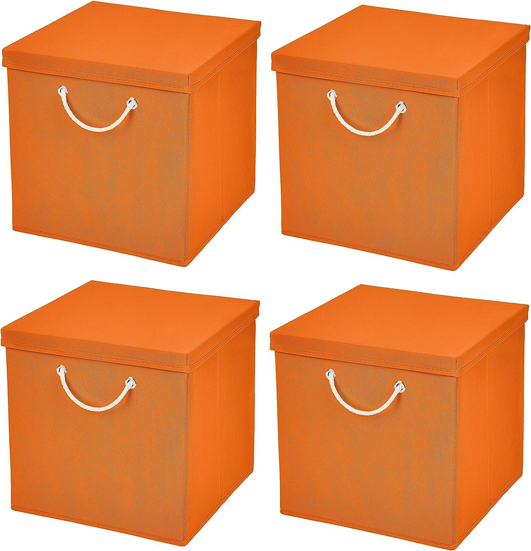 Juego de 4 Naranja – Caja plegable (30 x 30 x 30 cm Caja Plegable ...