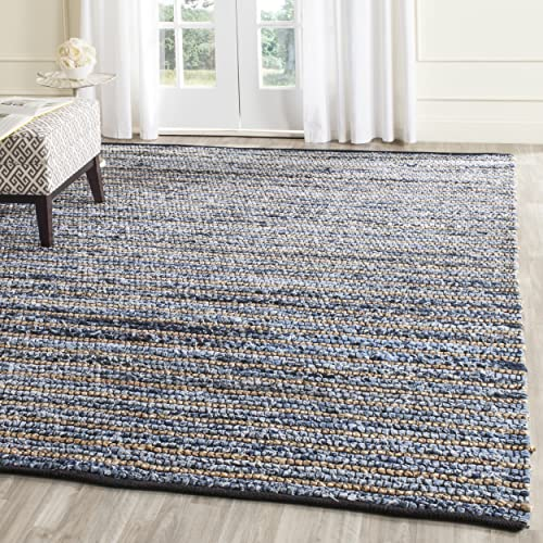 Safavieh Cape Cod Collection CAP363A Hand Woven Blue and Natural Jute and Cotton Area Rug 9 x 12
