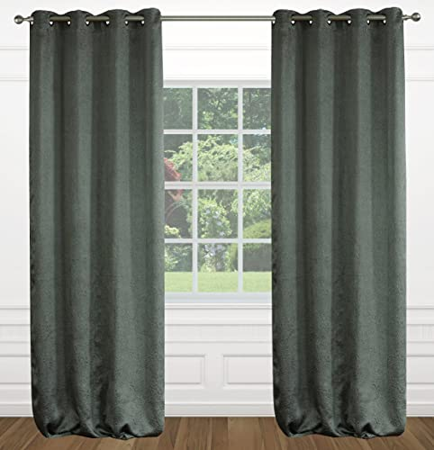 LJ Home Fashions Raindrops Abstract Floral Crushed Fabric Grommet Curtain Panels Set of 2 54×95-in