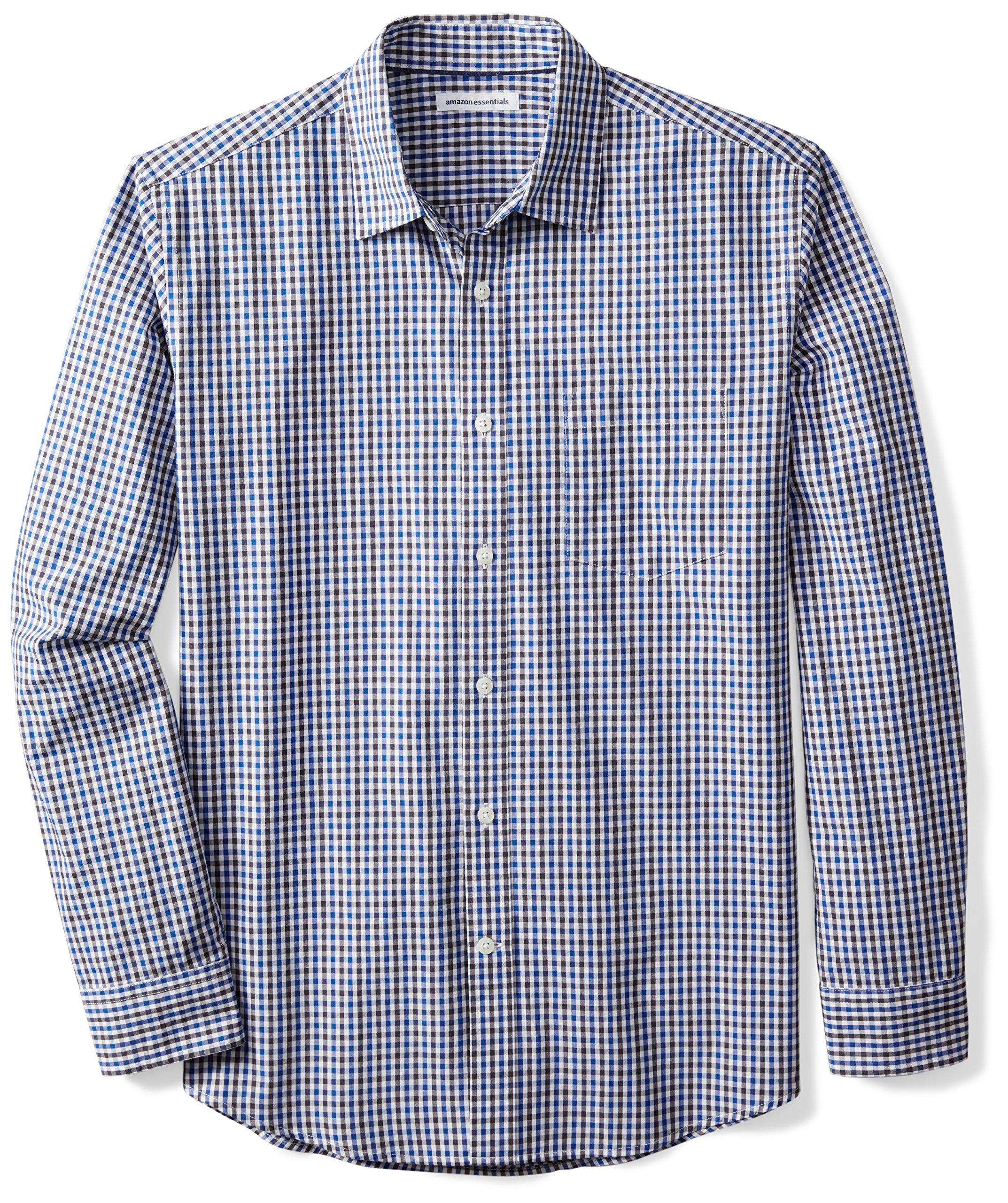 Amazon Essentials Men's Regular-Fit Long-Sleeve Casual Poplin Shirt, Blue/Black Gingham, Large by Amazon Essentials