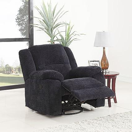 DIVANO ROMA FURNITURE Brush Microfiber Rocker and Swivel Recliner Living Room Chair (Dark Grey)