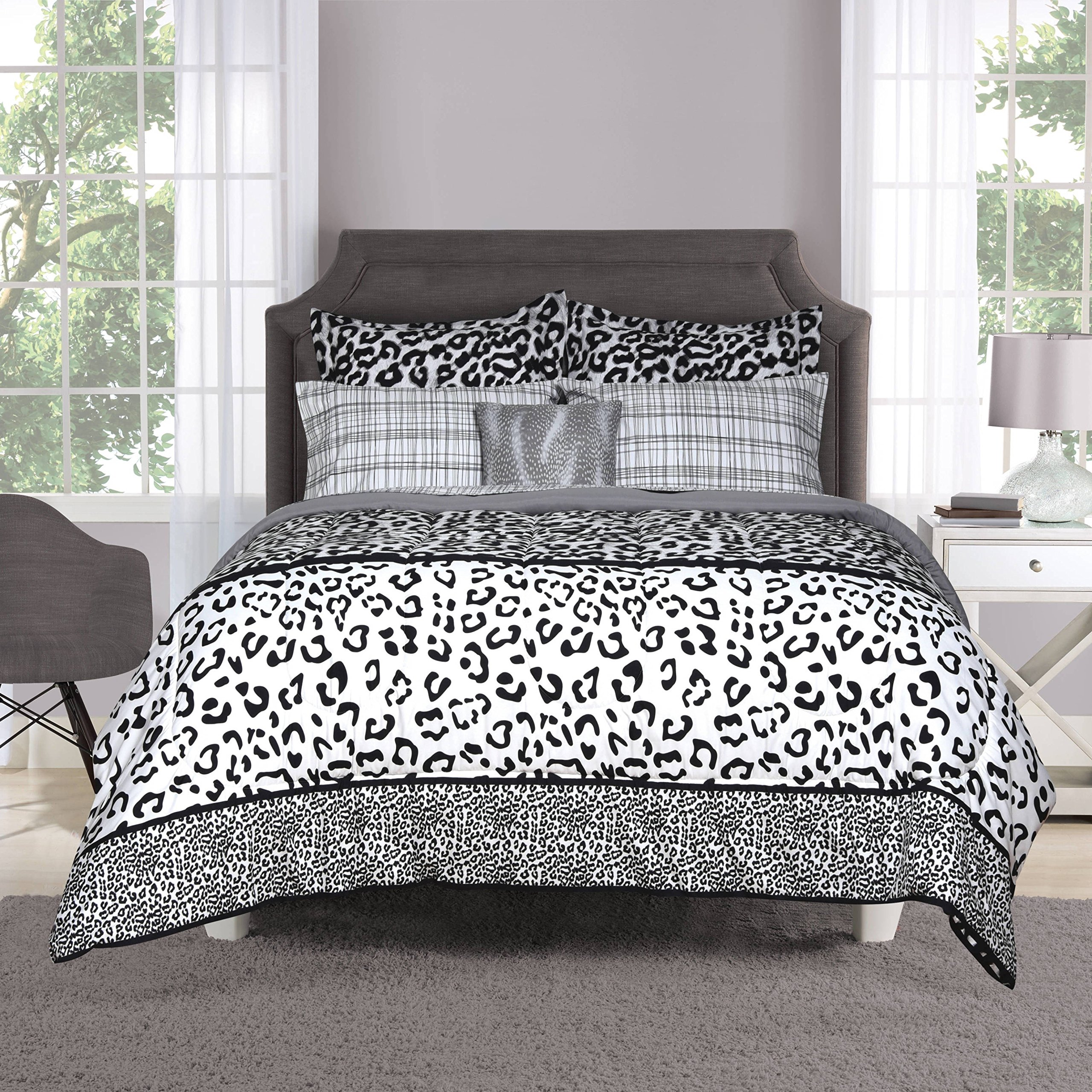 8 Piece Girls Black White Grey Leopard Print Comforter Queen Set, Wild Animal Cat Bedding Jungle Themed Exotic Spotted Pattern Zoo Safair African Tribal All Over Design, Polyester by UN3