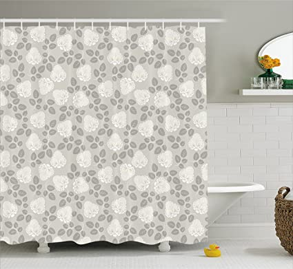 Ambesonne Antique Shower Curtain Old Fashioned Roses Pattern With Blossoms And Leaves Romantic Spring Revival
