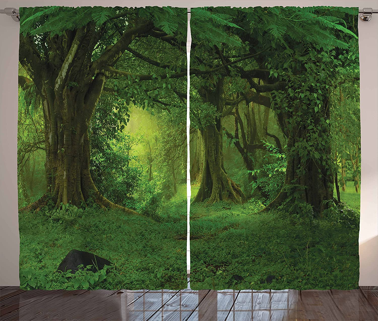 Ambesonne Nature Curtains, Deep Tropical Jungle Trees Foliage in The Woodland Himalayas Meditation Landscape, Living Room Bedroom Window Drapes 2 Panel Set, 108
