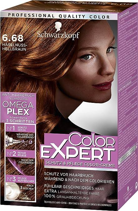 Schwarzkopf Color Expert - Crema intensiva para el cuidado intensivo de color 6.68, avellana marrón claro, nivel 3, pack de 3 (3 x 167 ml)