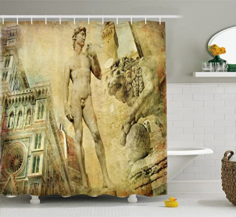 Amazon.com: Italy Shower Curtain by Ambesonne, Ancient Florence Art ...