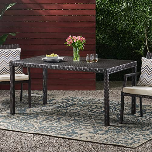 Christopher Knight Home Rhode Island Outdoor Wicker Rectangular Dining Table, Multibrown