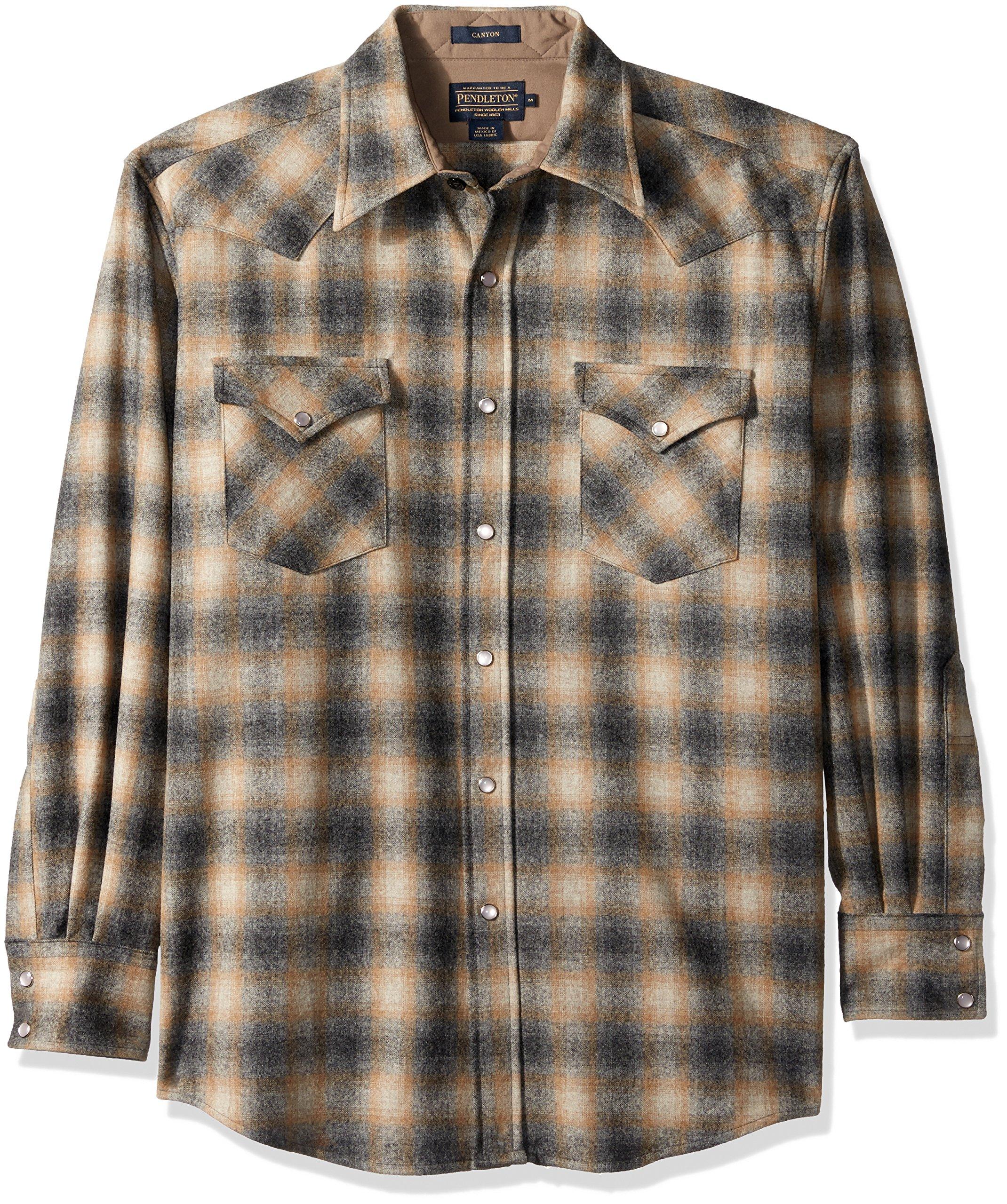 Pendleton Men's Long Sleeve Button Front Classic-fit Canyon Shirt, Oxford Grey/Tan Ombre-31942, XL