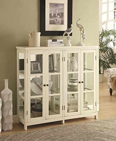 Amazon.com: Coaster Accent Display Cabinet in White: Kitchen & Dining