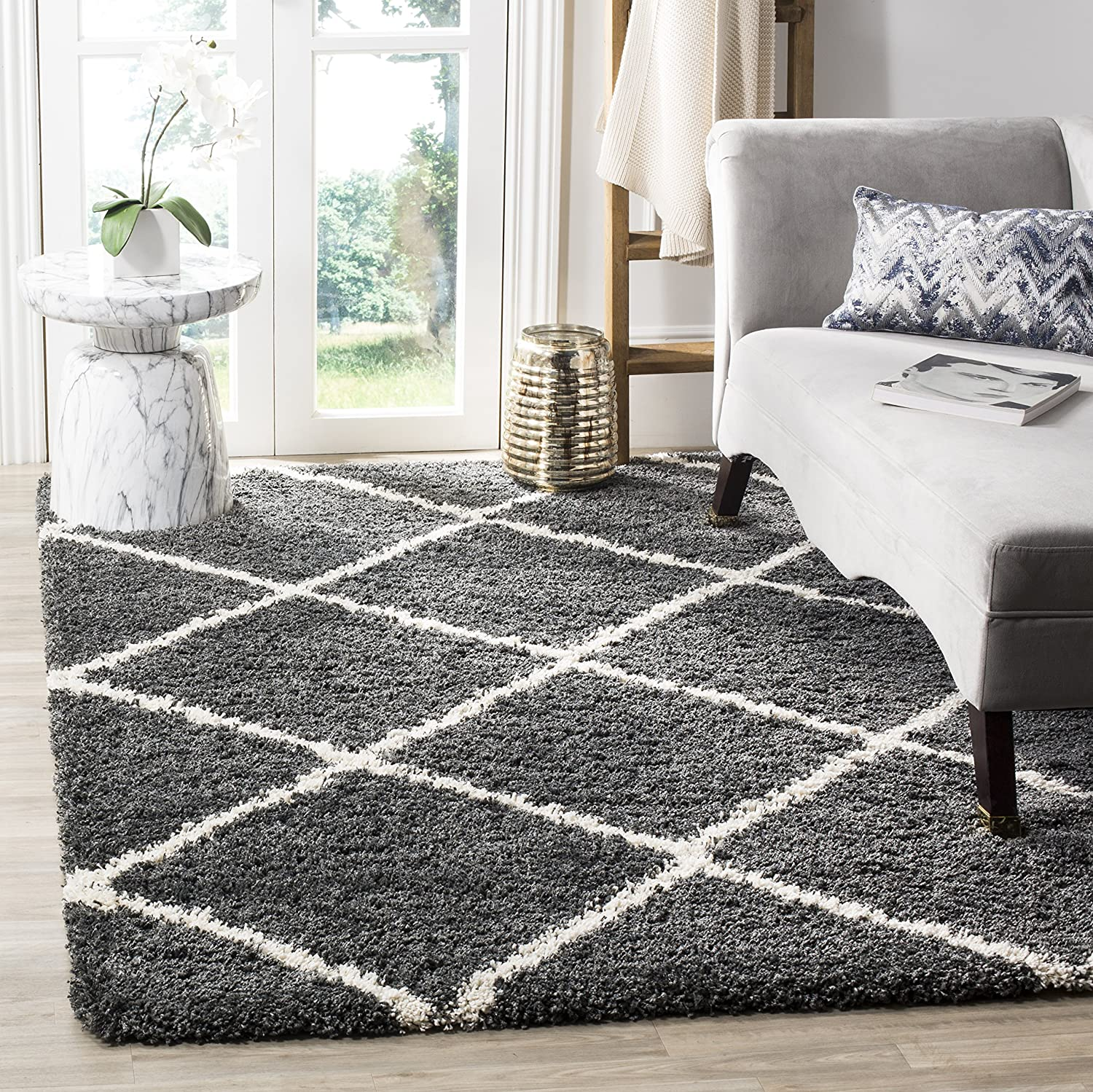 Safavieh Hudson Shag Collection SGH281G Diamond Trellis 2-inch Thick Area Rug, 10' x 14', Dark Grey/Ivory