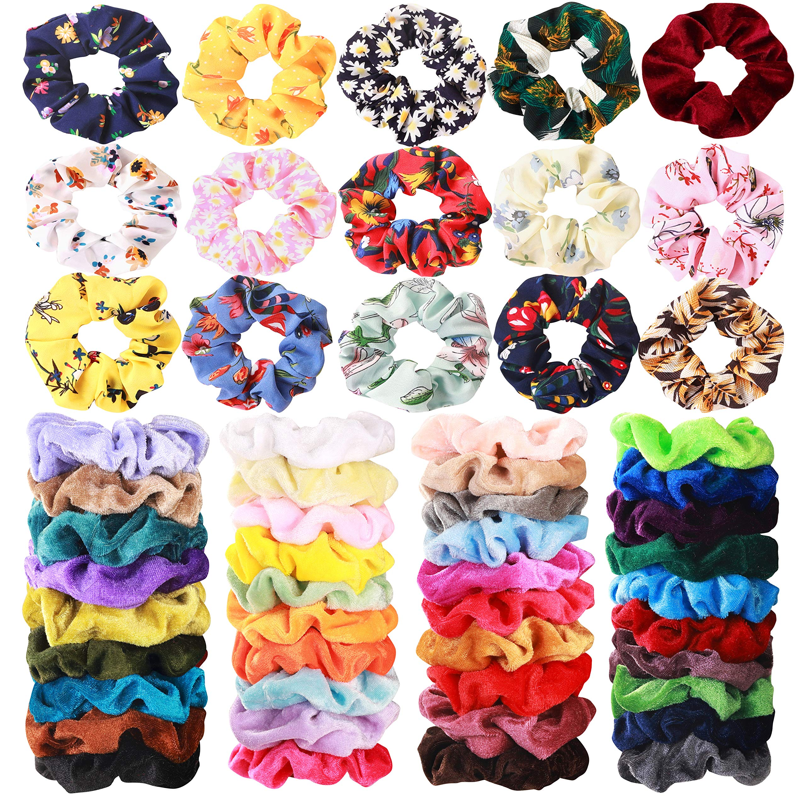 54 Pcs Hair Scrunchies 40 Velvet Hair Scrunchies 14 Chiffon Flower Hair Scrunchies Hair Elastic Scrunchy Ties Ropes Scrunchie for Women or Girls Hair Accessories for Christmas New Year