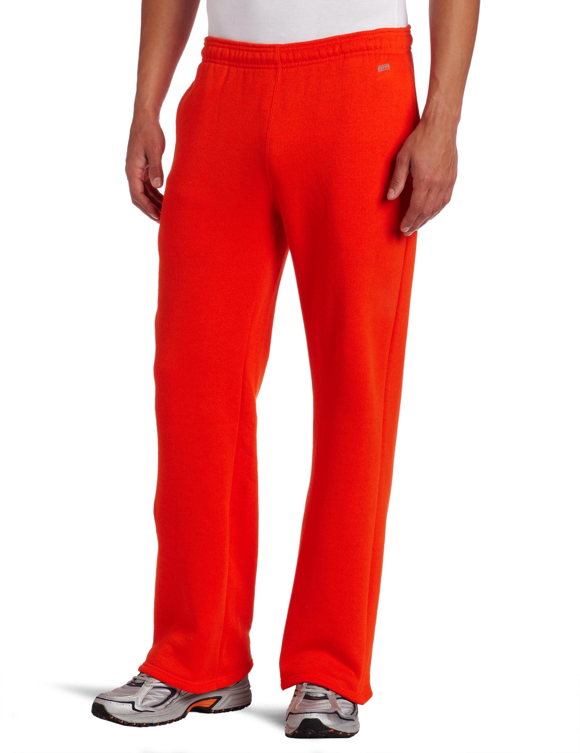 Soffe MJ Men's Training Fleece Pocket Pant, Orange, Small