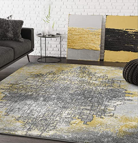 Abani Rugs Large Yellow Grey Beige Bold Abstract Line Contemporary Area Rug Modern Style Accent, Laguna Collection Turkish Made Superior Comfort Construction Stain Shed Resistant, 4 x 6 Feet