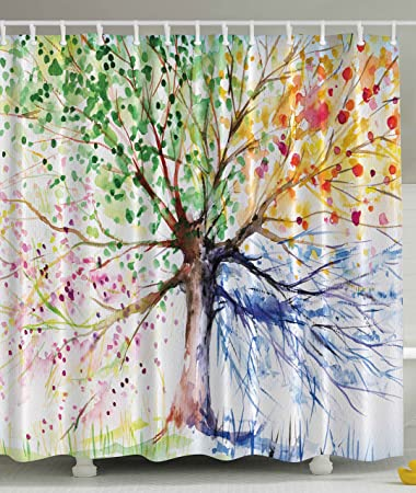 Colorful Tree Four Seasons Shower Curtain  Berry Green Red Yellow Navy Brown   Extra LongAmazon com  Colorful Tree Four Seasons Shower Curtain  Berry Green  . Extra Brown And Red Shower Curtain. Home Design Ideas
