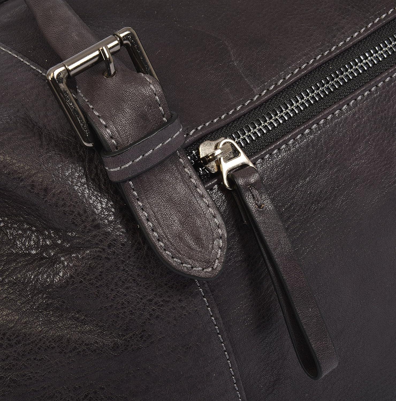 Leather Travel Bag/Duffel Bag - Genuine Italian Leather Holdall - Grey Dark Brown