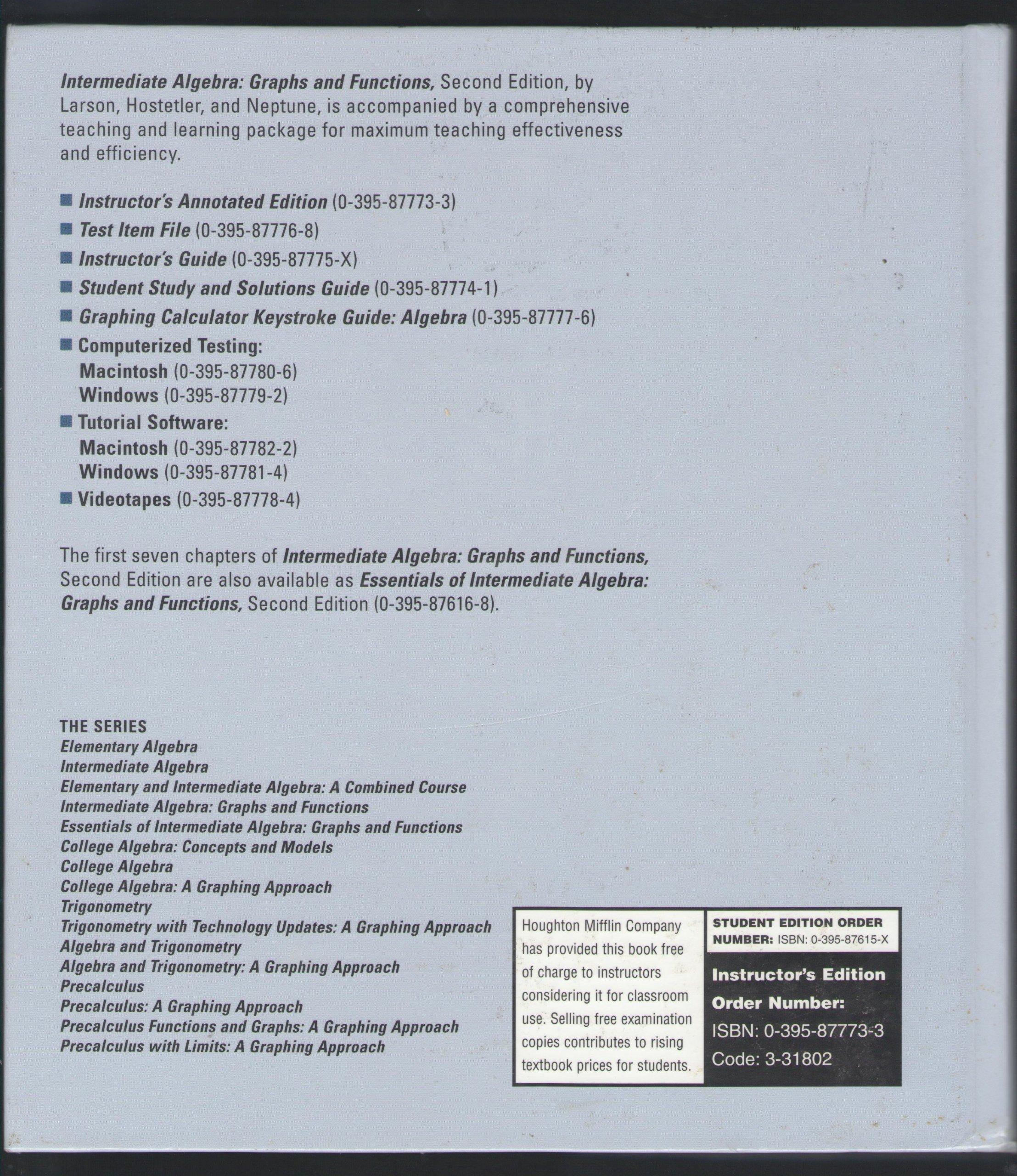 Intermediate Algebra: Graphs and Functions (instructor's annotated  edition): Sandra P Clarkson & Barbara J Barone: 9780395879511: Amazon.com:  Books