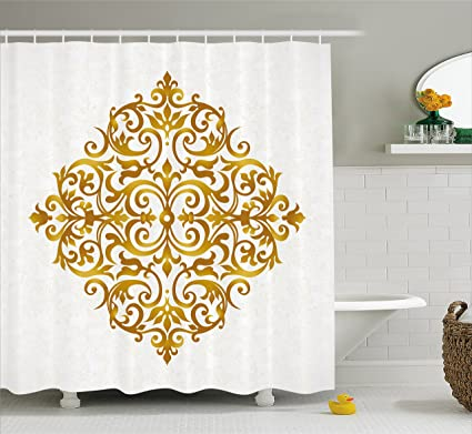 Ambesonne Mandala Shower Curtain Victorian Style Traditional Filigree Inspired Royal Oriental Classic Print Fabric