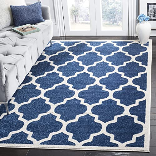 Safavieh Amherst Collection AMT420P Moroccan Geometric Area Rug, 6 x 9 , Navy Beige