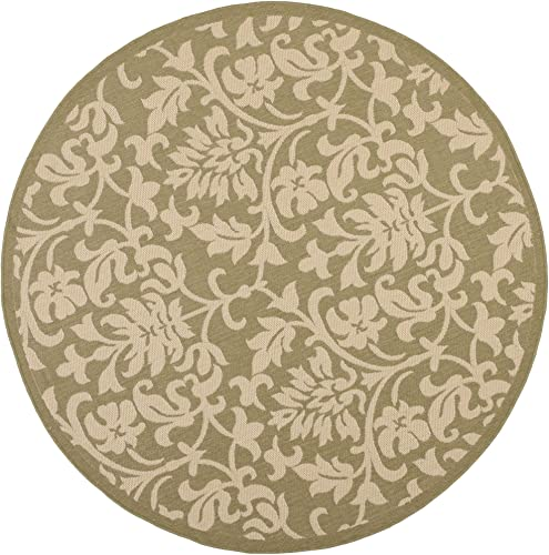 Safavieh Courtyard Collection CY3416-1E06 Olive and Natural Indoor Outdoor Round Area Rug 6 7 Diameter