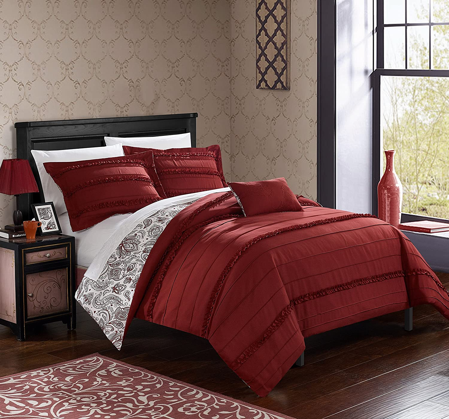 Chic Home 4 Piece Eliza Pleated/Ruffled Reversible Paisley Floral Print Duvet Cover Set Shams/Decorative Pillows, Queen, Brick