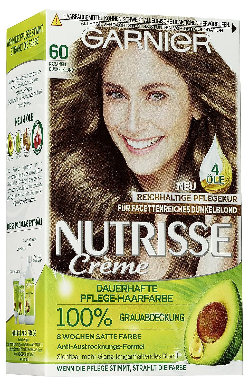 Garnier Nutrisse Creme Coloration Karamell Dunkelblond 60 Färbung, 3er Pack (3 x 1 Stück) 3er Pack (3 x 1 Stück) C07352