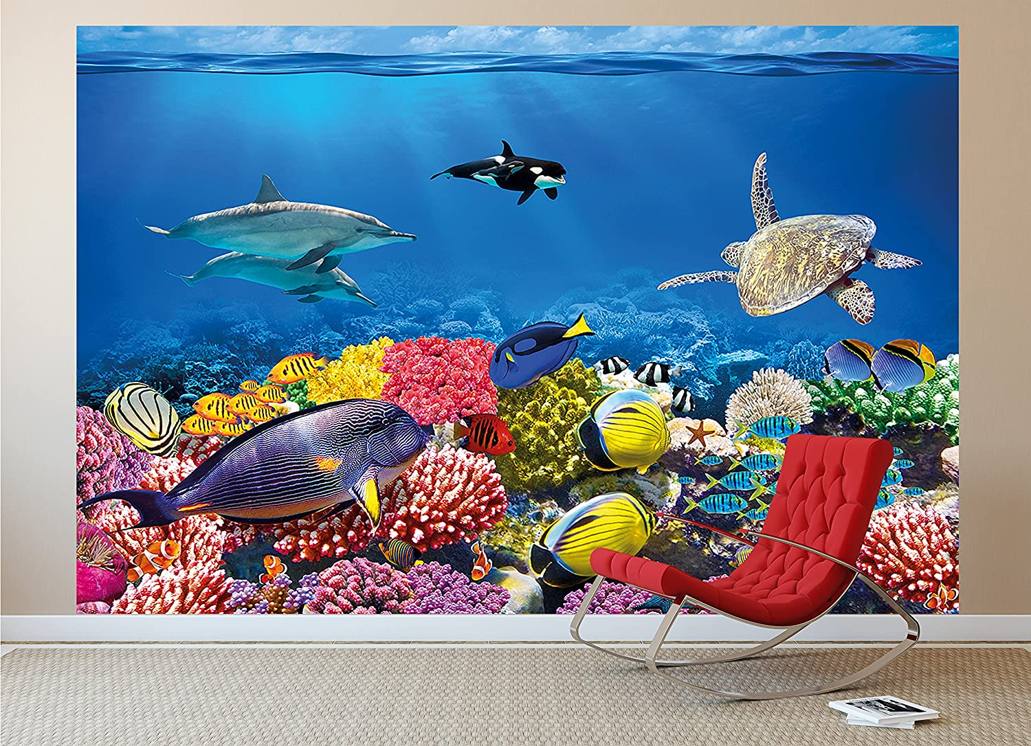 amazon com wall mural aquarium mural decoration colourful amazon com wall mural aquarium mural decoration colourful underwater world sea dweller ocean fishes dolphin coral reef clownfish i paperhanging wallpaper