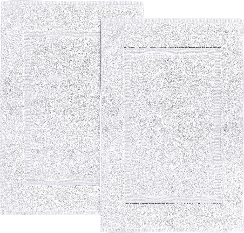 Utopia Towels - Alfombrillas de baño, alfombra baño - 100% algodón lavable en la lavadora (paquete de 2, 53 x 86 cm,Blanco) - altamente absorbente