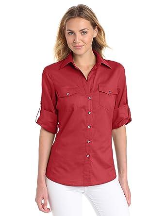 0313e3c5 Sandra Ingrish Women's Three Quarter Sleeve Side Rib Knit Shirt, Garnet,  Small