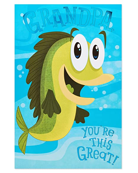 Amazon American Greetings Funny Fish Birthday Card For Grandpa With Foil Office Products