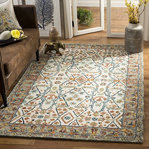 Safavieh Aspen Collection APN308A Ivory and Blue Premium Wool Area Rug 9' x 12'