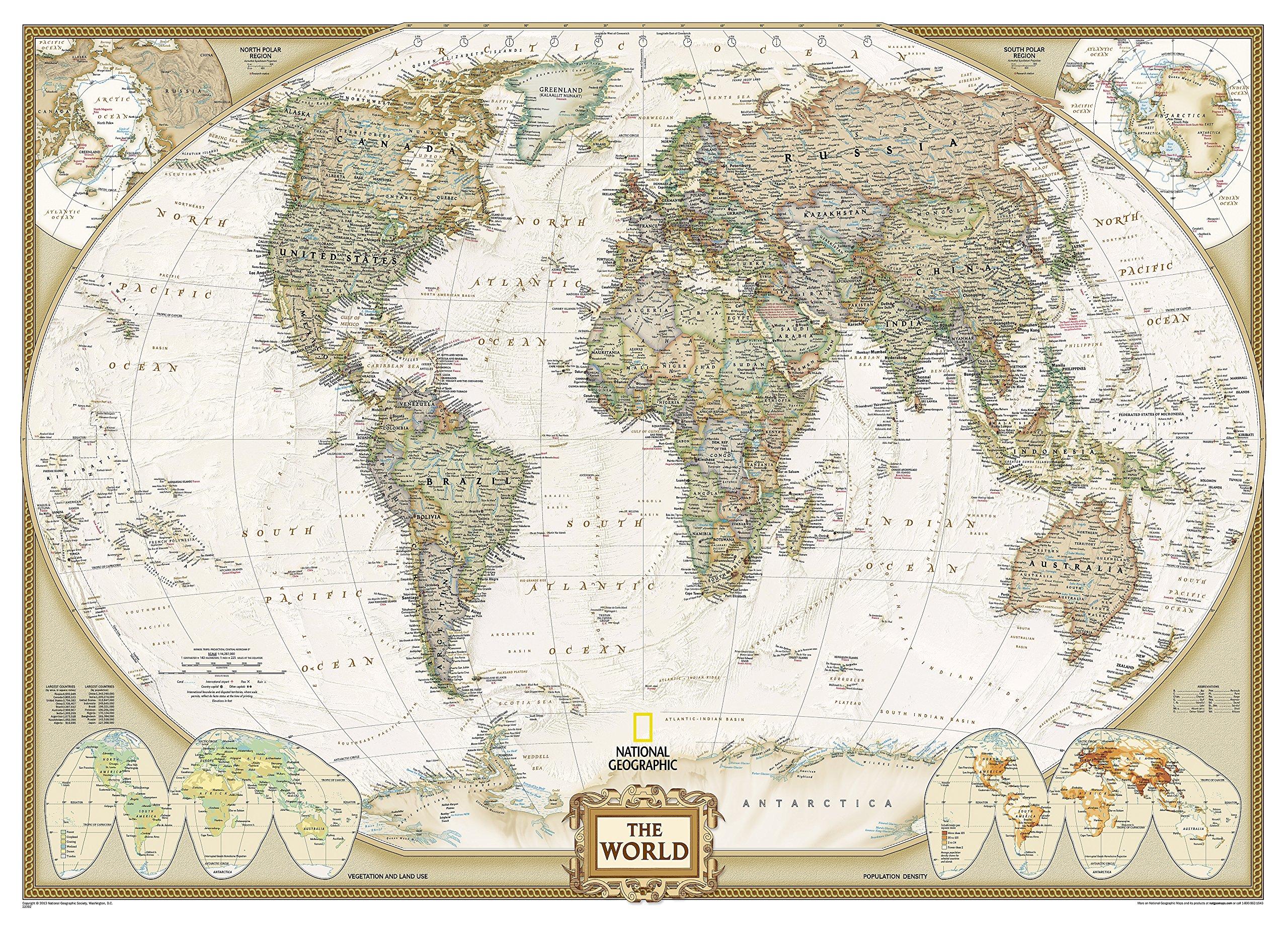 Mapa mural del mundo executive gigante 3 partes 295x193 cm. Inglés. National Geographic.: 3 Parts Reference - World: Amazon.es: VV.AA.: Libros en idiomas extranjeros