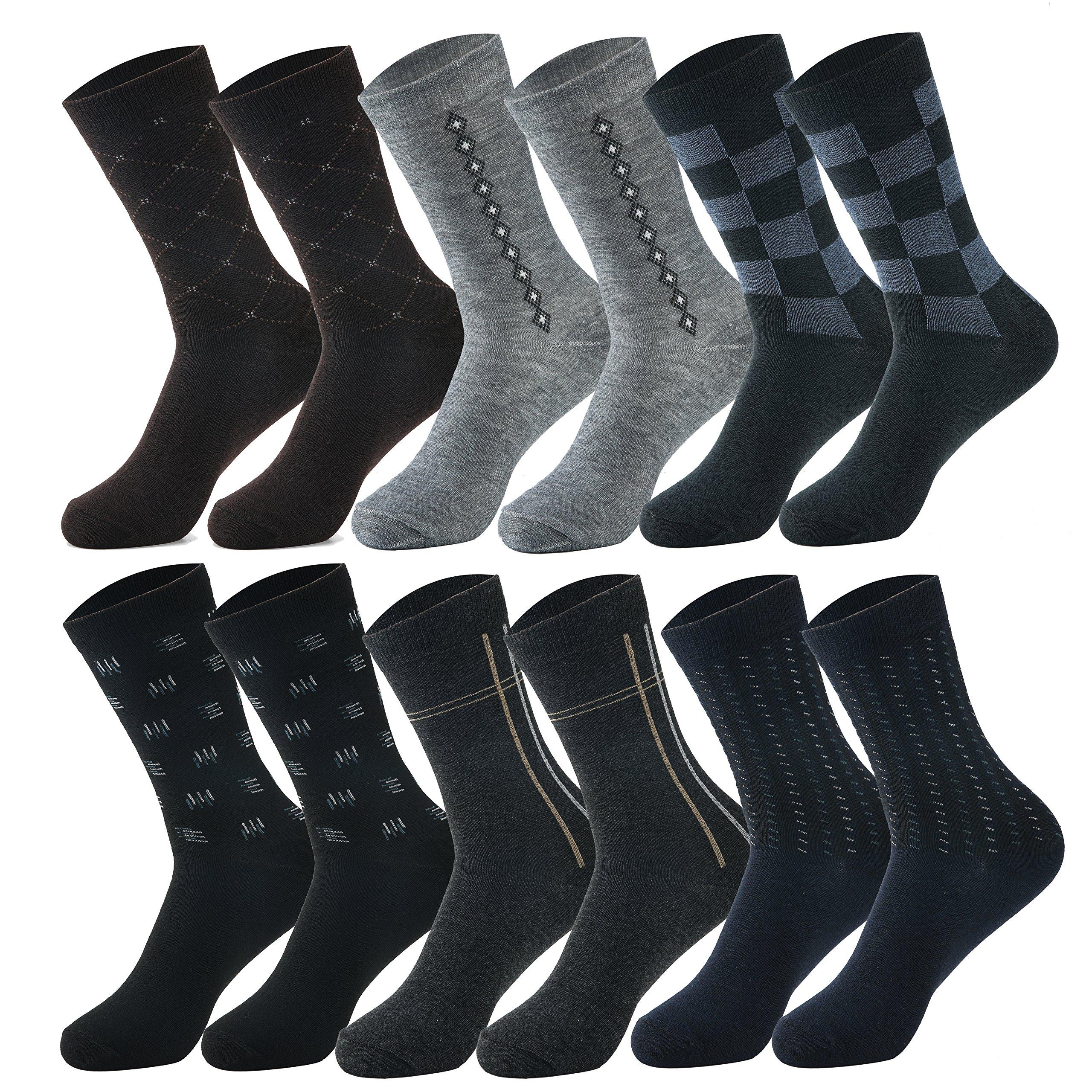 Zakka Republic 12 Pairs Men Fashion Dress Socks Multi Colored & Pattern (SCK-02)