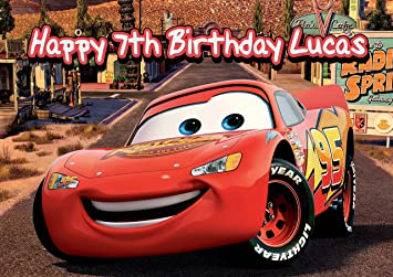 Cars 3 Lightning Mcqueen Disney Personalized Cake Toppers Icing Sugar Paper A4 Sheet Edible Frosting Photo