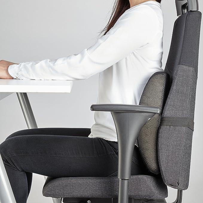 MEDIWELL Almohada lumbar ortopédica para silla de oficina | Cojin de apoyo lumbar | Cojín dorsal ergonómico que reduce el dolor y mejora la postura para ...