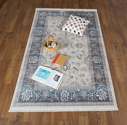 Antep Rugs Comfort Zone Collection Nomad Oriental Vintage Area Rug Bone 96 W x 122 L