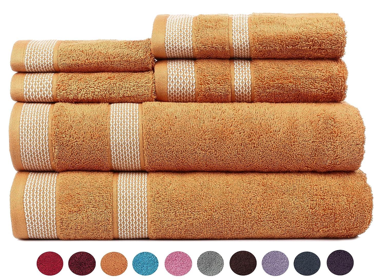 コペンハーゲンCasaソリティアエジプト綿17.70 Oz/YD ² thick 6 Pieces Designerバス、ハンド& Washcloth/Face Towels Set – Blazing Orange B075B9K5BC