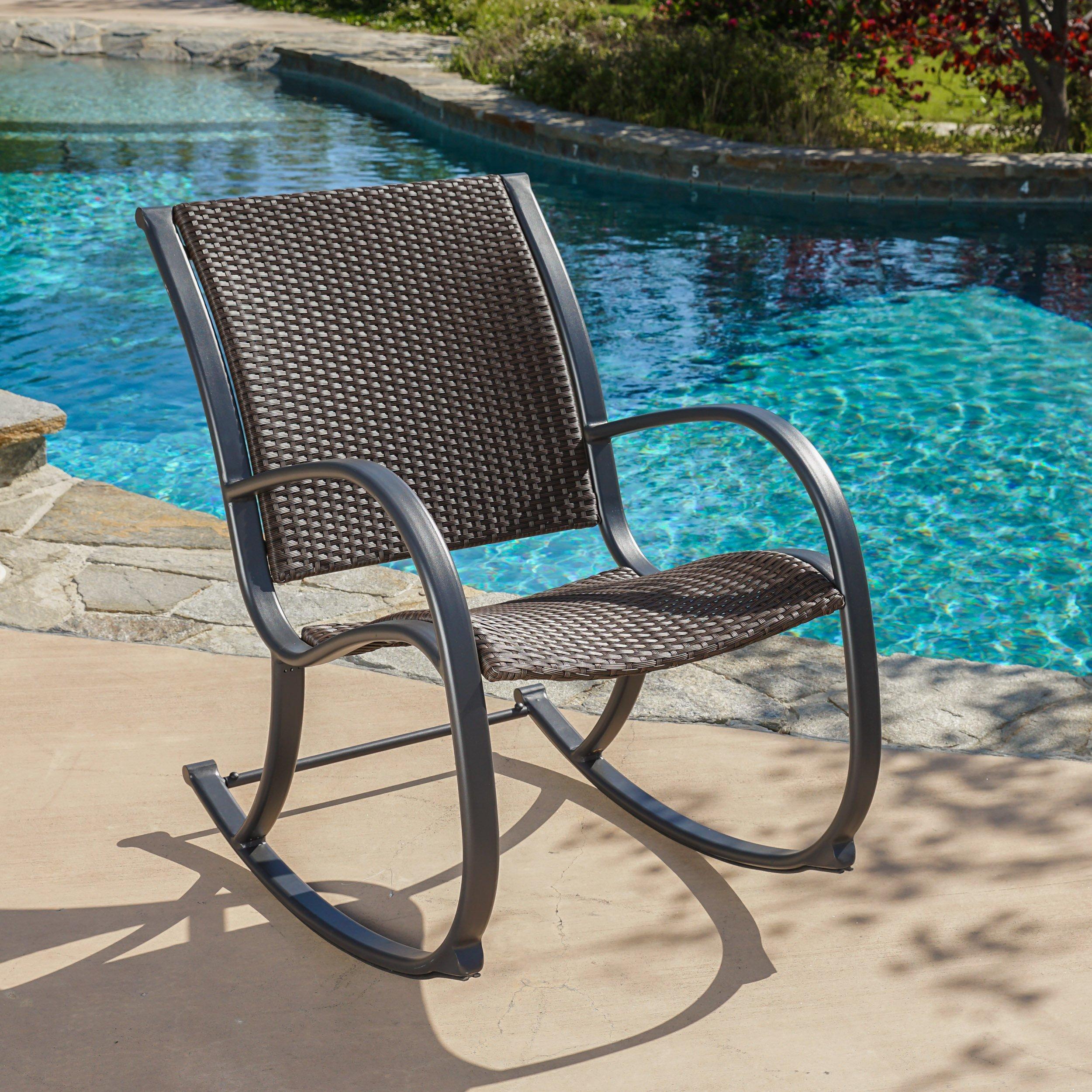 Leann Outdoor Dark Brown Wicker Rocking Chair