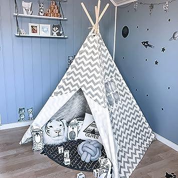 Tipi Zelt für Kinder - Kinderzimmer Spielzelt - drinnen draußen Segeltuch  Kinderzelt Indianer (Grauer Chevron 160cm Hoch )