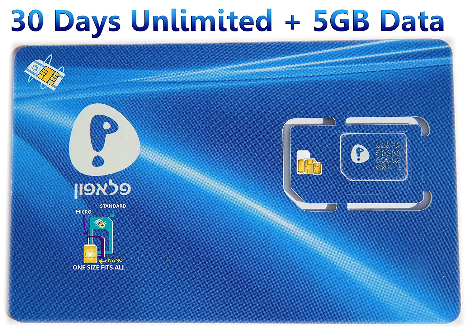 Israel Prepaid SIM Card From Pelephone, Including 30 Days Unlimited Calls & SMS in Israel + 5GB Data, Triple SIM 3 in 1 For Any Size SIM Mini Micro Nano + SIM Card Case Iphone Pin & User Guide