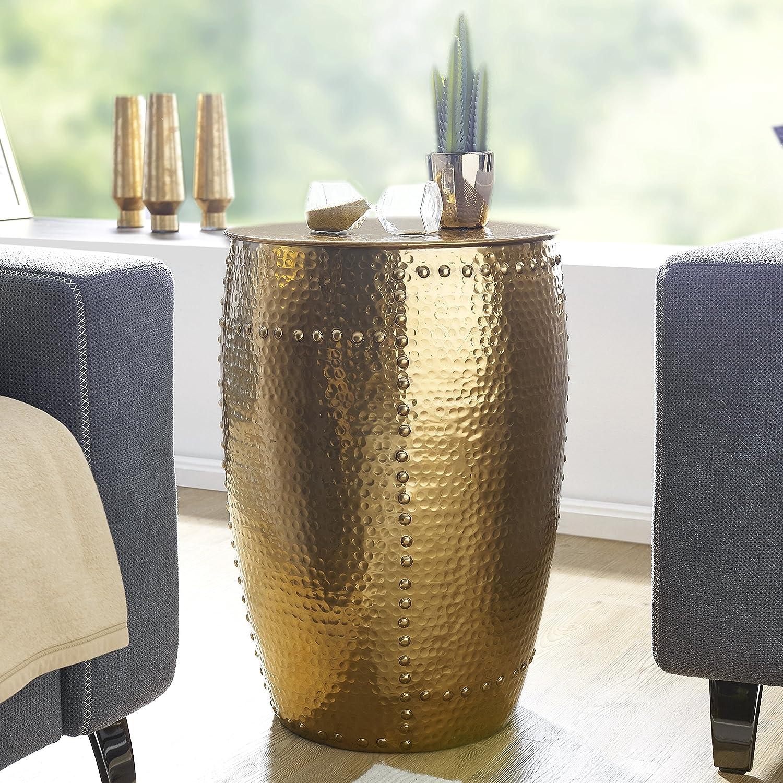 FineBuy Beistelltisch PADRO 41,5x62x41,5cm Aluminium Gold Dekotisch orientalisch rund | Kleiner Hammerschlag Abstelltisch | Designer Ablagetisch Metall modern | Anstelltisch schmal