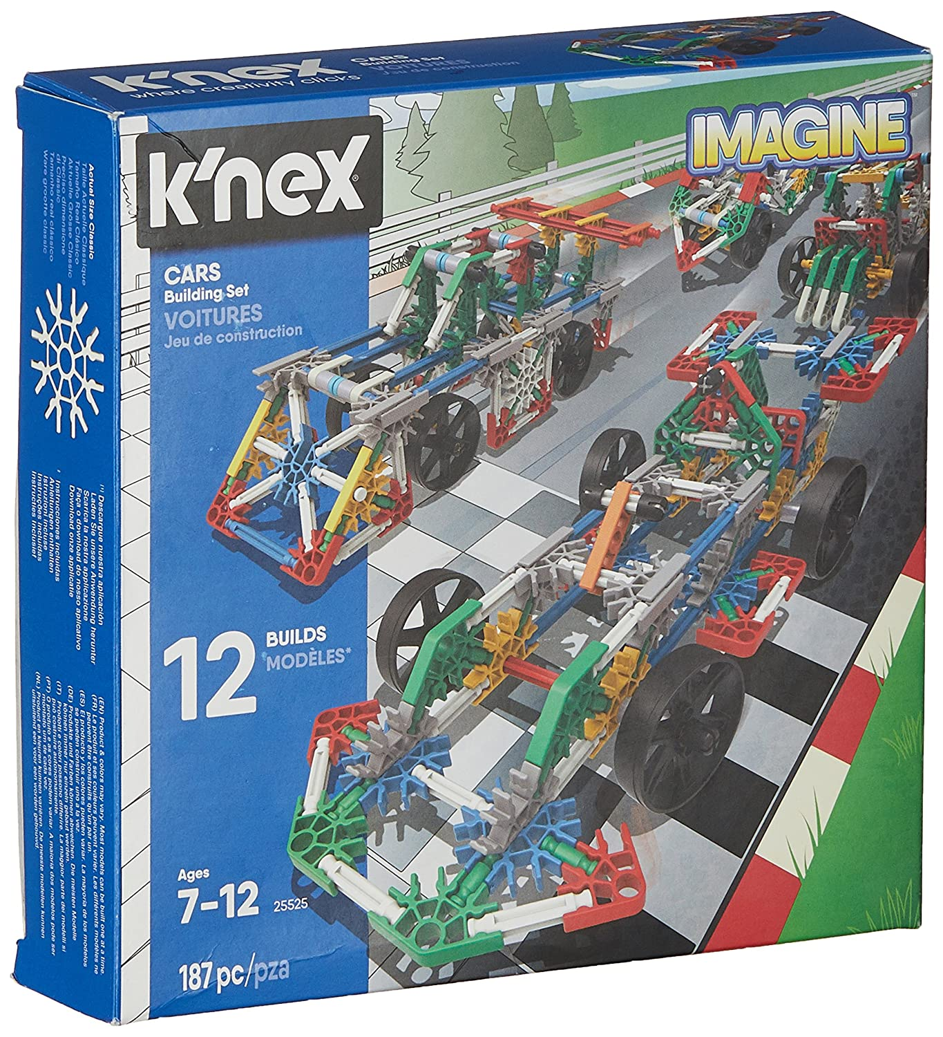 K'Nex 25525 Imagine 12 Model Cars Building Set, 186 Pieces, Ages 7+ Engineering Education Toy K'Nex