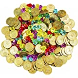 Joyin Toy 288 Pieces Pirate Gold Coins and Pirate Gems Jewellery Playset Pack Party Favour. (144 Coins+144 Gems)