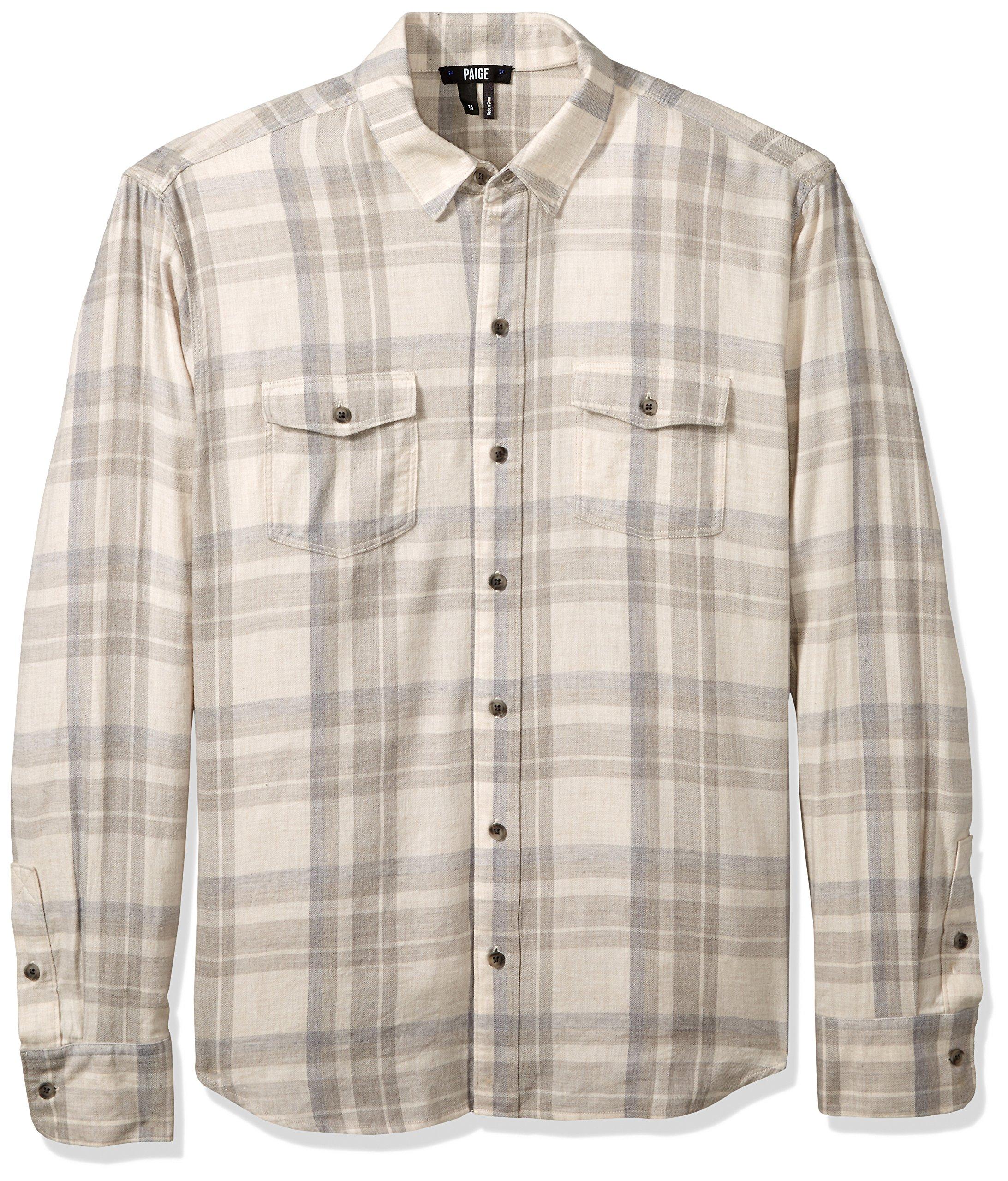 PAIGE Men's Everett Brushed Cotton Button Down Shirt, Maritime Grey XL