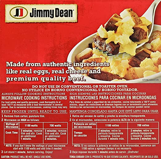 Jimmy Dean, Steak and Egg Breakfast Bowl, 7 oz (frozen): Amazon.com: Grocery & Gourmet Food