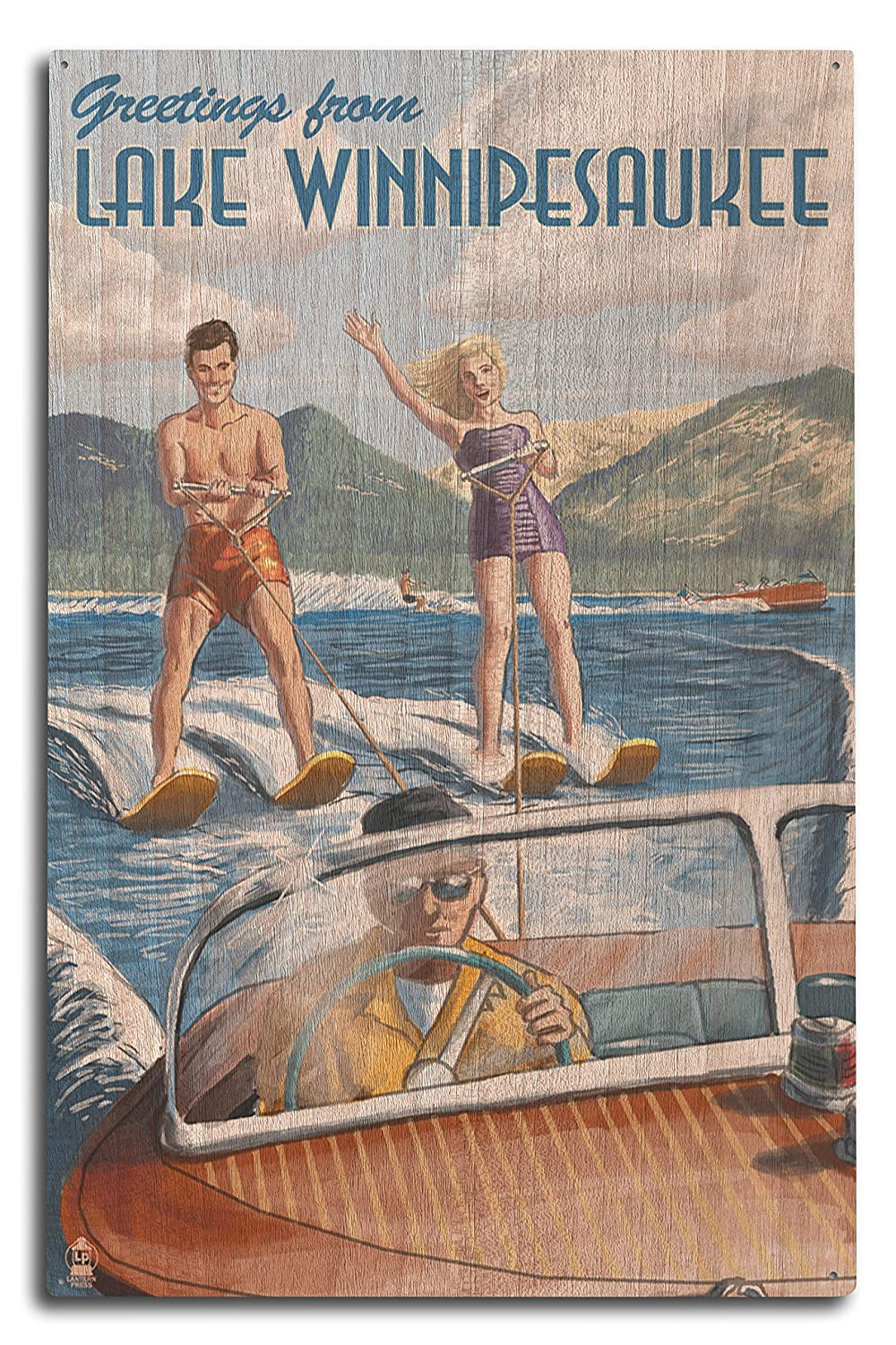 品質のいい Lake Winnipesaukee, New Hampshire - Wood Water Skiing Scene Print, Wood (16x24 Giclee Gallery Print, Wall Decor Travel Poster) by Lantern Press B073676L6N 10 x 15 Wood Sign 10 x 15 Wood Sign, 茅部郡:898f576b --- arianechie.dominiotemporario.com