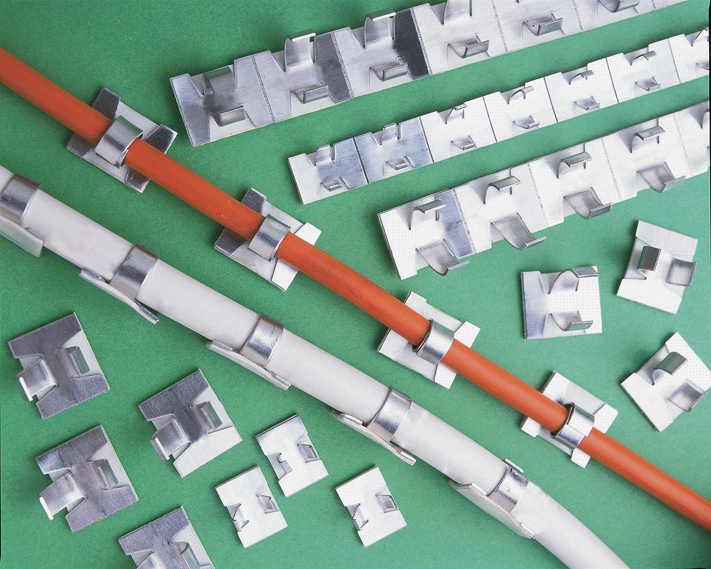 50 small WHITE gloss coated aluminium self-adhesive cable clips - 50 ...