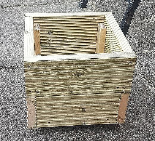 Cuadrado Cubierta maceta jardinera de madera caja 290 mm hecho a mano cajas de madera tratada a presión macetas de madera jardín macetas con un acabado Natural: Amazon.es: Jardín