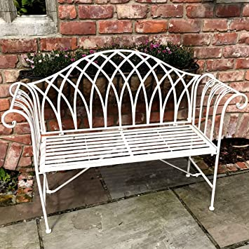 Awesome Glamhaus Metal Garden Bench Seat Patio Foldable Furniture Antique Cream Beautiful Handmade Vintage Metal Garden Bench 128 X 44 X 93Cm Verona Bralicious Painted Fabric Chair Ideas Braliciousco